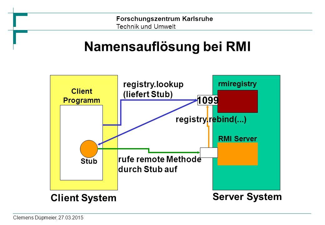 Forschungszentrum Karlsruhe Technik und Umwelt Clemens Düpmeier, 27.03.2015 Namensauflösung bei RMI Client System Server System Client Programm rmireg