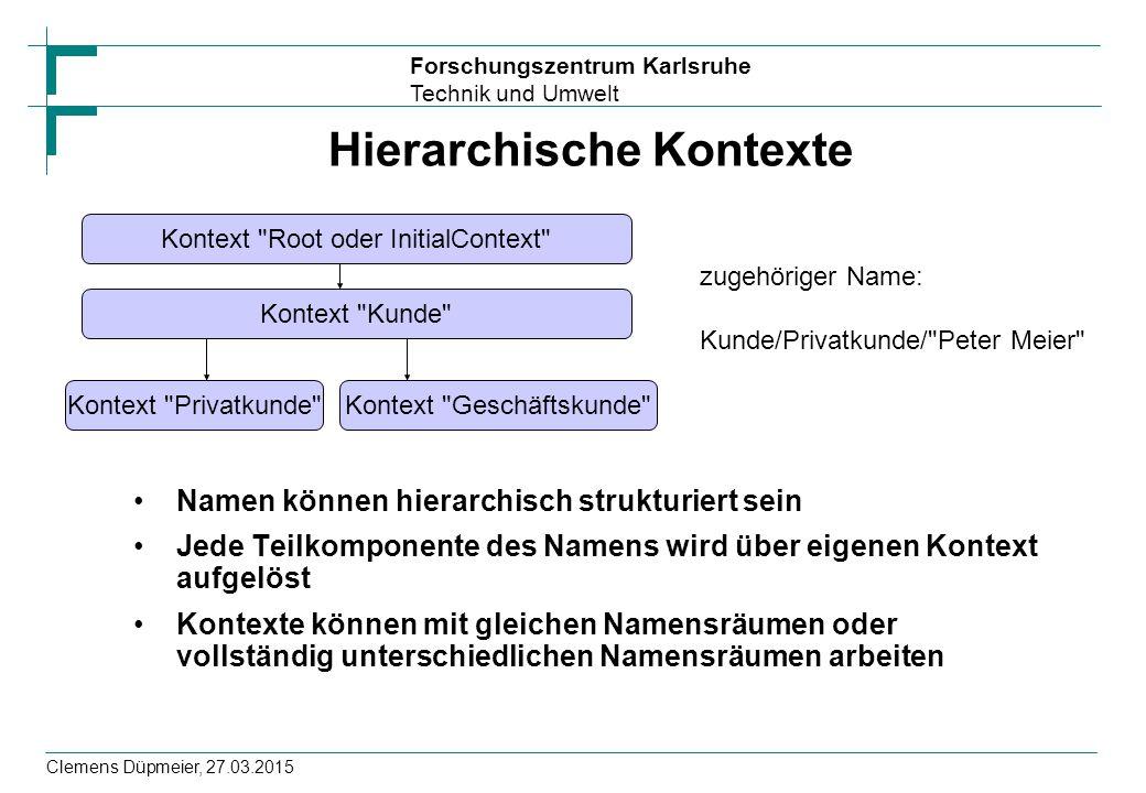 Forschungszentrum Karlsruhe Technik und Umwelt Clemens Düpmeier, 27.03.2015 Hierarchische Kontexte Namen können hierarchisch strukturiert sein Jede Te