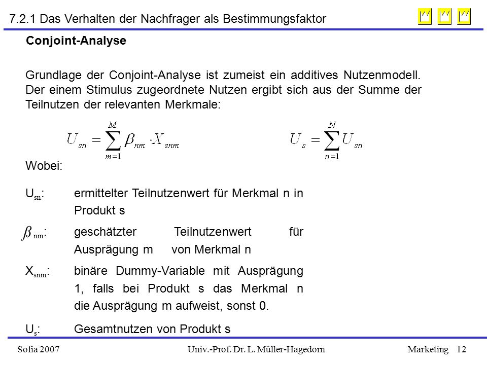 Univ.-Prof. Dr. L. Müller-HagedornSofia 2007Marketing12 7.2.1 Das Verhalten der Nachfrager als Bestimmungsfaktor Conjoint-Analyse Grundlage der Conjoi