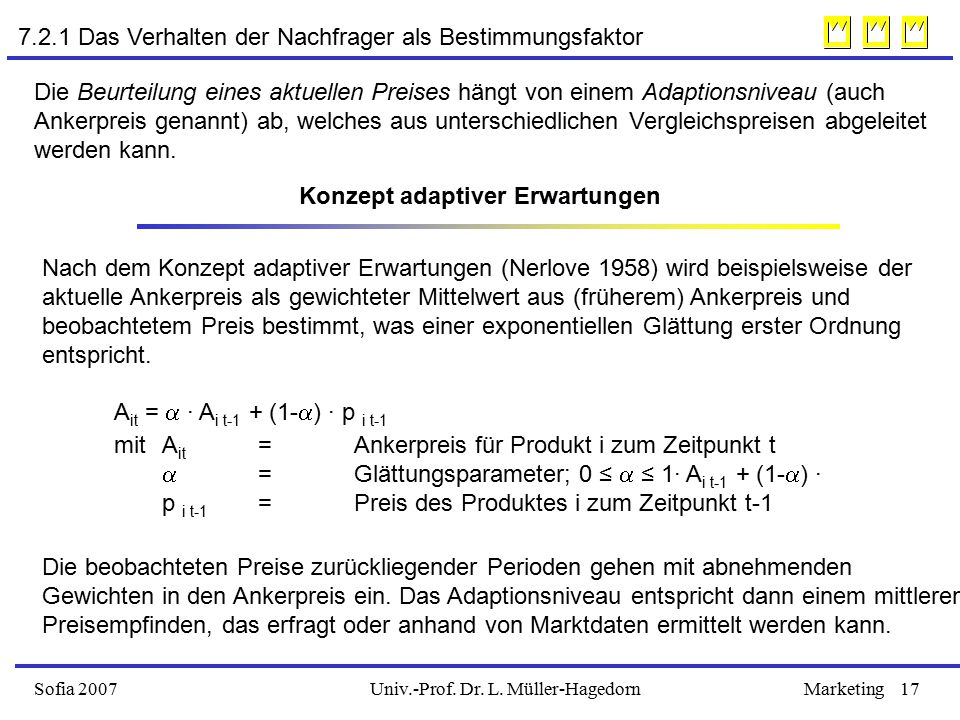 Univ.-Prof. Dr. L. Müller-HagedornSofia 2007Marketing17 Konzept adaptiver Erwartungen A it =  ∙ A i t-1 + (1-  ) ∙ p i t-1 mit A it = Ankerpreis für