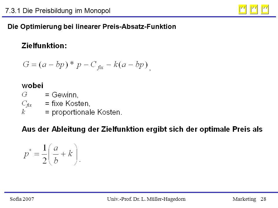 Univ.-Prof. Dr. L. Müller-HagedornSofia 2007Marketing28 Die Optimierung bei linearer Preis-Absatz-Funktion 7.3.1 Die Preisbildung im Monopol