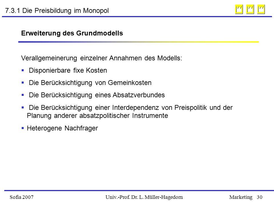 Univ.-Prof. Dr. L. Müller-HagedornSofia 2007Marketing30 7.3.1 Die Preisbildung im Monopol Erweiterung des Grundmodells Verallgemeinerung einzelner Ann