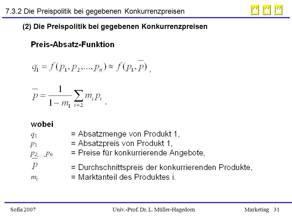Univ.-Prof. Dr. L. Müller-HagedornSofia 2007Marketing31 7.3.2 Die Preispolitik bei gegebenen Konkurrenzpreisen (2) Die Preispolitik bei gegebenen Konk