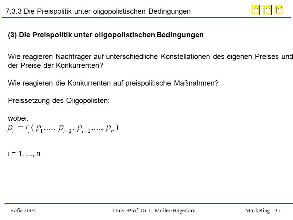 Univ.-Prof. Dr. L. Müller-HagedornSofia 2007Marketing37 (3) Die Preispolitik unter oligopolistischen Bedingungen Wie reagieren Nachfrager auf untersch