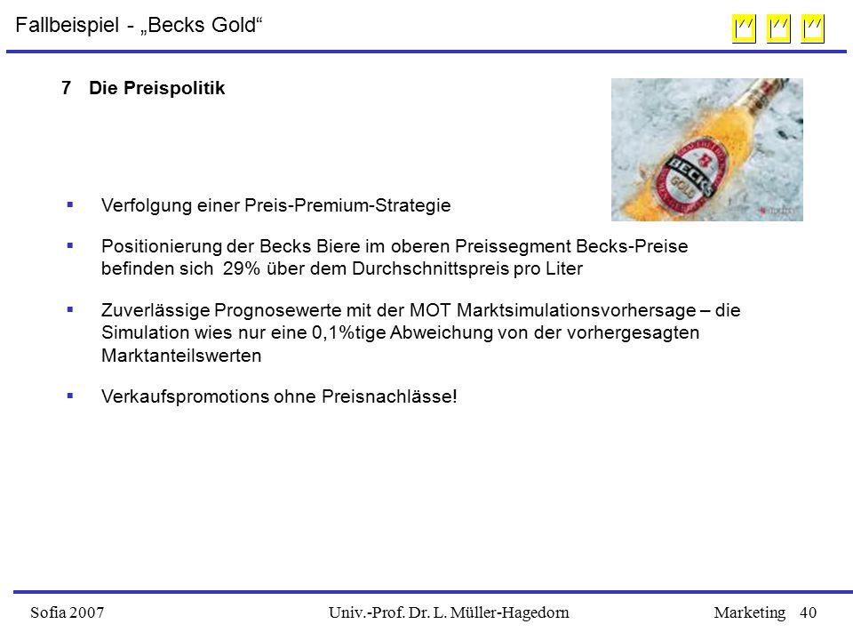 """Univ.-Prof. Dr. L. Müller-HagedornSofia 2007Marketing40 Fallbeispiel - """"Becks Gold""""  Verfolgung einer Preis-Premium-Strategie  Positionierung der Be"""