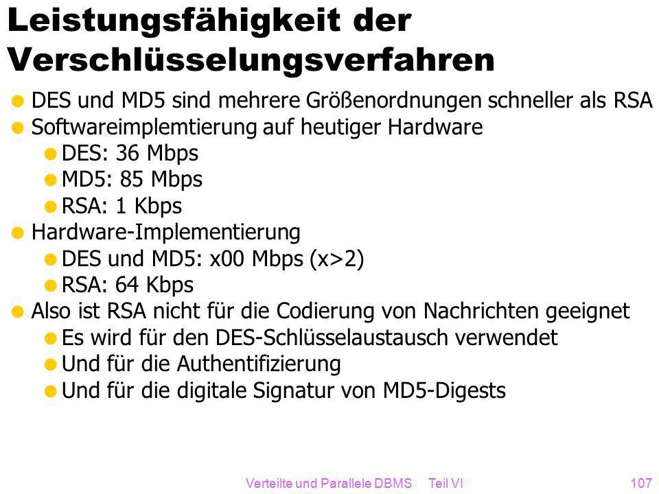 Verteilte und Parallele DBMS Teil VI107 Leistungsfähigkeit der Verschlüsselungsverfahren  DES und MD5 sind mehrere Größenordnungen schneller als RSA  Softwareimplemtierung auf heutiger Hardware  DES: 36 Mbps  MD5: 85 Mbps  RSA: 1 Kbps  Hardware-Implementierung  DES und MD5: x00 Mbps (x>2)  RSA: 64 Kbps  Also ist RSA nicht für die Codierung von Nachrichten geeignet  Es wird für den DES-Schlüsselaustausch verwendet  Und für die Authentifizierung  Und für die digitale Signatur von MD5-Digests