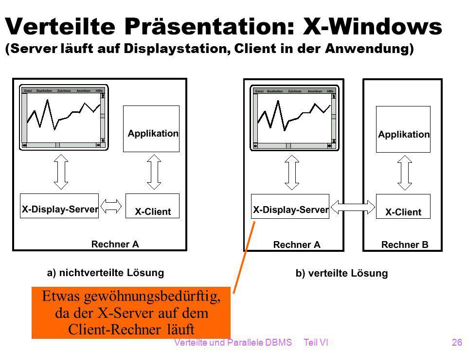 Verteilte und Parallele DBMS Teil VI26 Verteilte Präsentation: X-Windows (Server läuft auf Displaystation, Client in der Anwendung) Etwas gewöhnungsbedürftig, da der X-Server auf dem Client-Rechner läuft