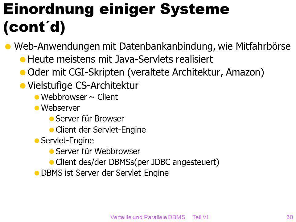 Verteilte und Parallele DBMS Teil VI30 Einordnung einiger Systeme (cont´d)  Web-Anwendungen mit Datenbankanbindung, wie Mitfahrbörse  Heute meistens mit Java-Servlets realisiert  Oder mit CGI-Skripten (veraltete Architektur, Amazon)  Vielstufige CS-Architektur  Webbrowser ~ Client  Webserver  Server für Browser  Client der Servlet-Engine  Servlet-Engine  Server für Webbrowser  Client des/der DBMSs(per JDBC angesteuert)  DBMS ist Server der Servlet-Engine