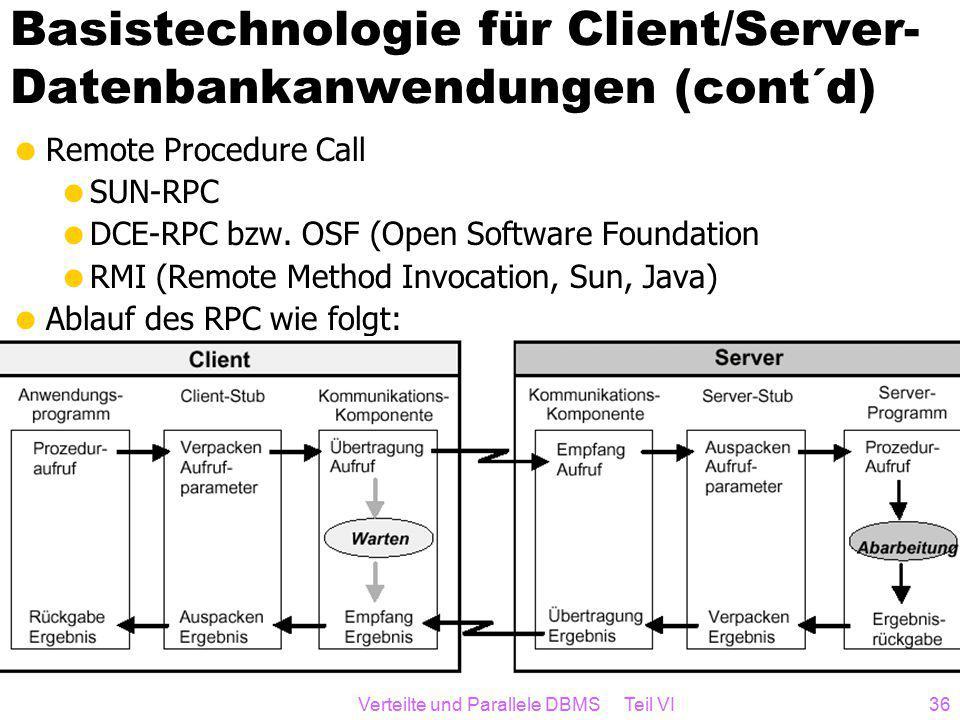 Verteilte und Parallele DBMS Teil VI36 Basistechnologie für Client/Server- Datenbankanwendungen (cont´d)  Remote Procedure Call  SUN-RPC  DCE-RPC bzw.