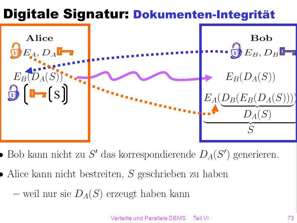 Verteilte und Parallele DBMS Teil VI73 S Digitale Signatur: Dokumenten-Integrität