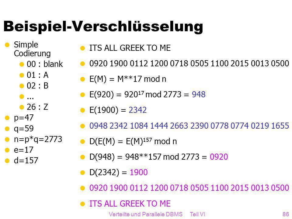Verteilte und Parallele DBMS Teil VI86 Beispiel-Verschlüsselung  Simple Codierung  00 : blank  01 : A  02 : B ...