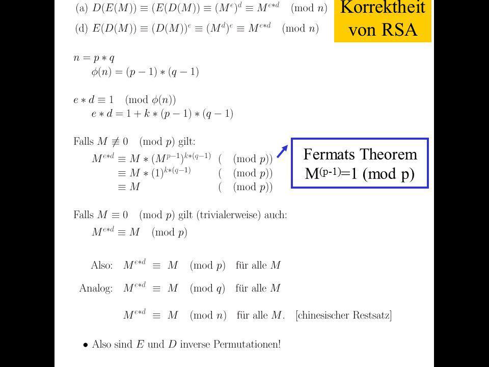 Verteilte und Parallele DBMS Teil VI87 Korrektheit von RSA Fermats Theorem M (p-1) =1 (mod p)