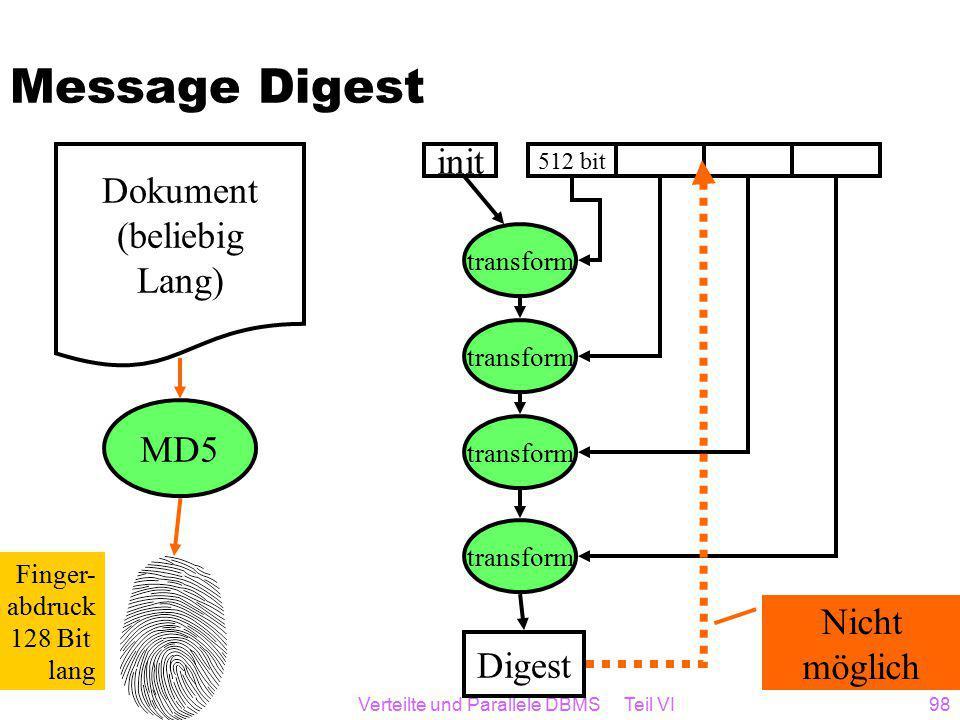 Verteilte und Parallele DBMS Teil VI98 Message Digest Dokument (beliebig Lang) MD5 Finger- abdruck 128 Bit lang 512 bit transform init Digest Nicht möglich