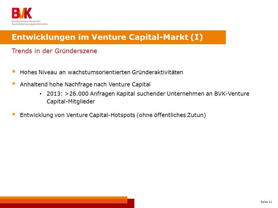 Seite 11 Trends in der Gründerszene  Hohes Niveau an wachstumsorientierten Gründeraktivitäten  Anhaltend hohe Nachfrage nach Venture Capital 2013: >