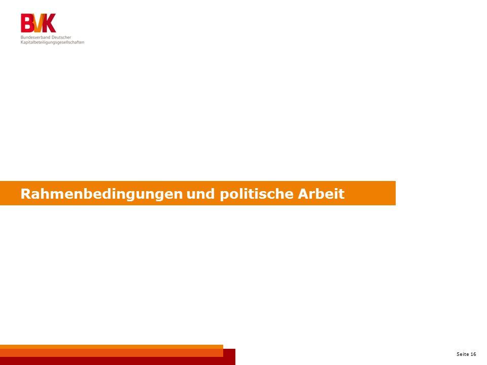 Seite 16 Rahmenbedingungen und politische Arbeit