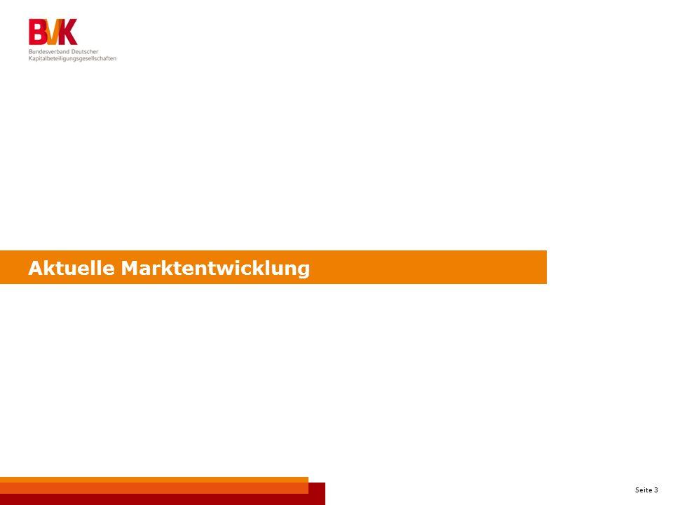 Seite 4 PE-Investitionen seit 2008 in Deutschland Quelle: BVK-Statistik/PEREP Analytics, Datenstand: August 2014 Marktstatistik = Investitionen in Deutschland unabhängig von der Herkunft der finanzierenden Beteiligungsgesellschaft -68 % +36 % -1 % -25 % +62 %