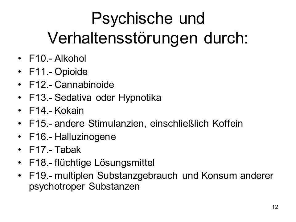 Psychische und Verhaltensstörungen durch: F10.- Alkohol F11.- Opioide F12.- Cannabinoide F13.- Sedativa oder Hypnotika F14.- Kokain F15.- andere Stimu
