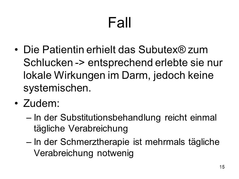Fall Die Patientin erhielt das Subutex® zum Schlucken -> entsprechend erlebte sie nur lokale Wirkungen im Darm, jedoch keine systemischen. Zudem: –In