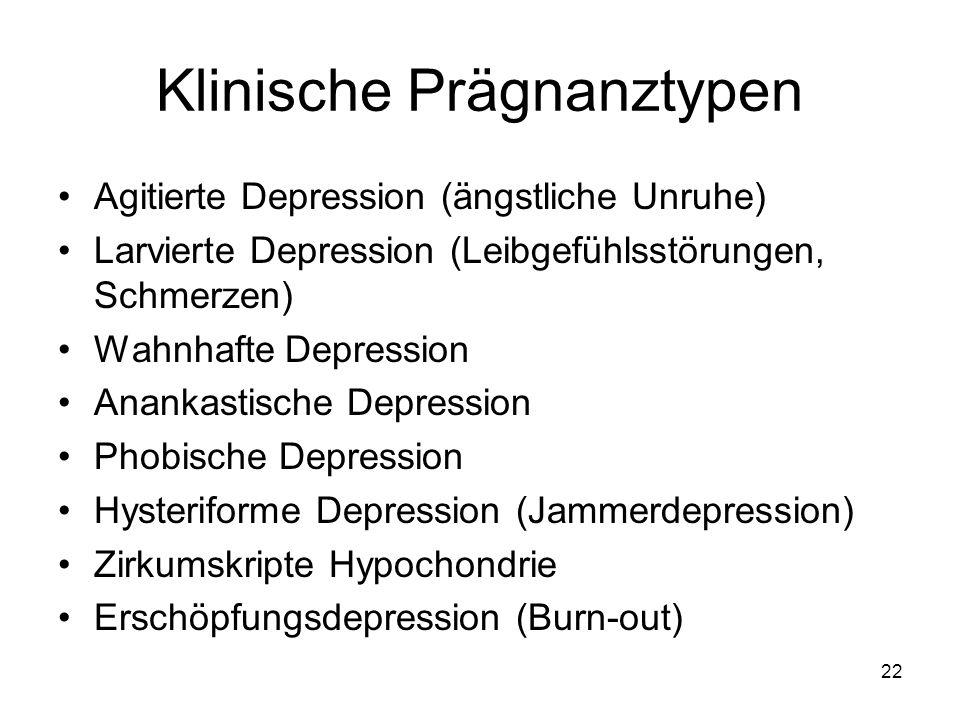 Klinische Prägnanztypen Agitierte Depression (ängstliche Unruhe) Larvierte Depression (Leibgefühlsstörungen, Schmerzen) Wahnhafte Depression Anankasti