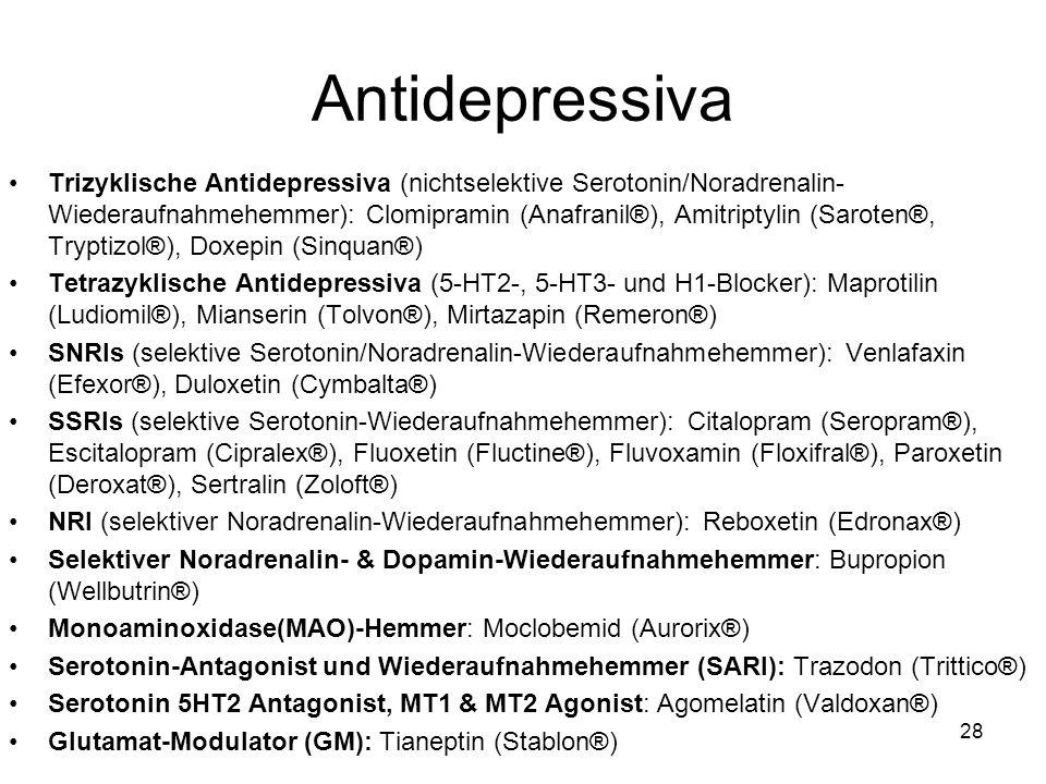 Antidepressiva Trizyklische Antidepressiva (nichtselektive Serotonin/Noradrenalin- Wiederaufnahmehemmer): Clomipramin (Anafranil®), Amitriptylin (Saro