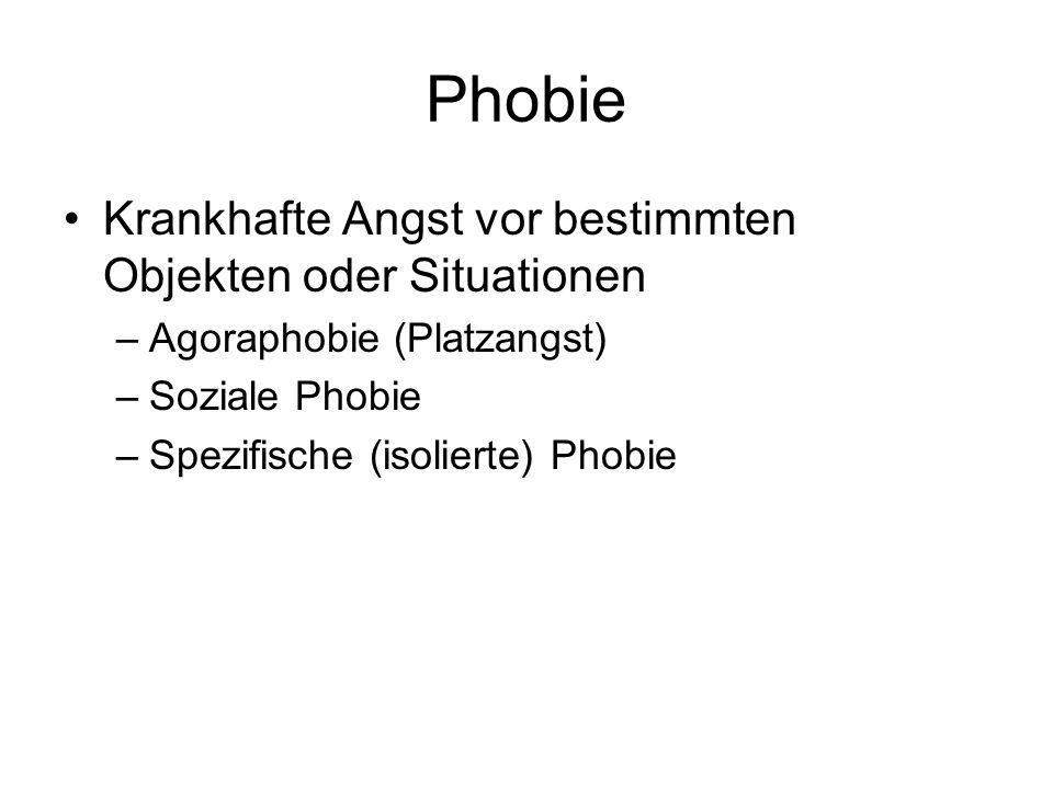 Phobie Krankhafte Angst vor bestimmten Objekten oder Situationen –Agoraphobie (Platzangst) –Soziale Phobie –Spezifische (isolierte) Phobie