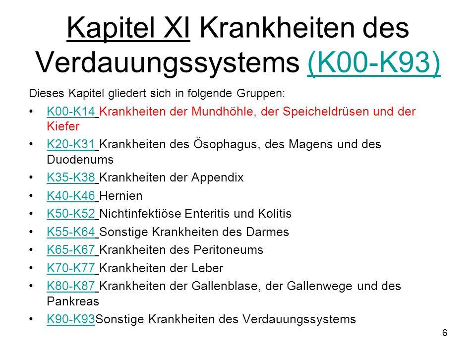 Kapitel XI Krankheiten des Verdauungssystems (K00-K93)(K00-K93) Dieses Kapitel gliedert sich in folgende Gruppen: K00-K14 Krankheiten der Mundhöhle, d