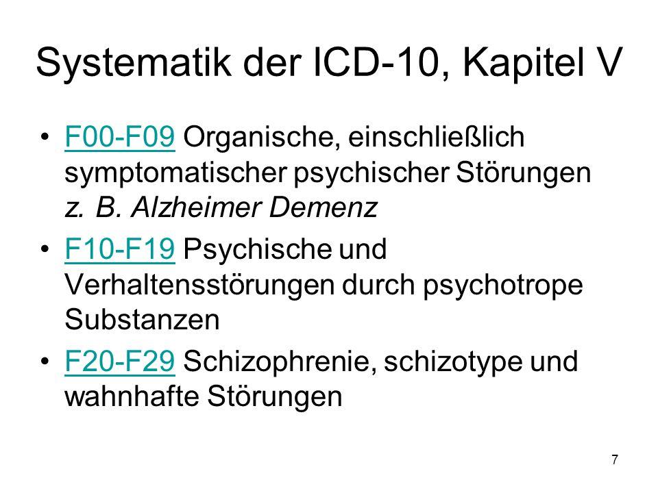 Systematik der ICD-10, Kapitel V F00-F09 Organische, einschließlich symptomatischer psychischer Störungen z. B. Alzheimer DemenzF00-F09 F10-F19 Psychi