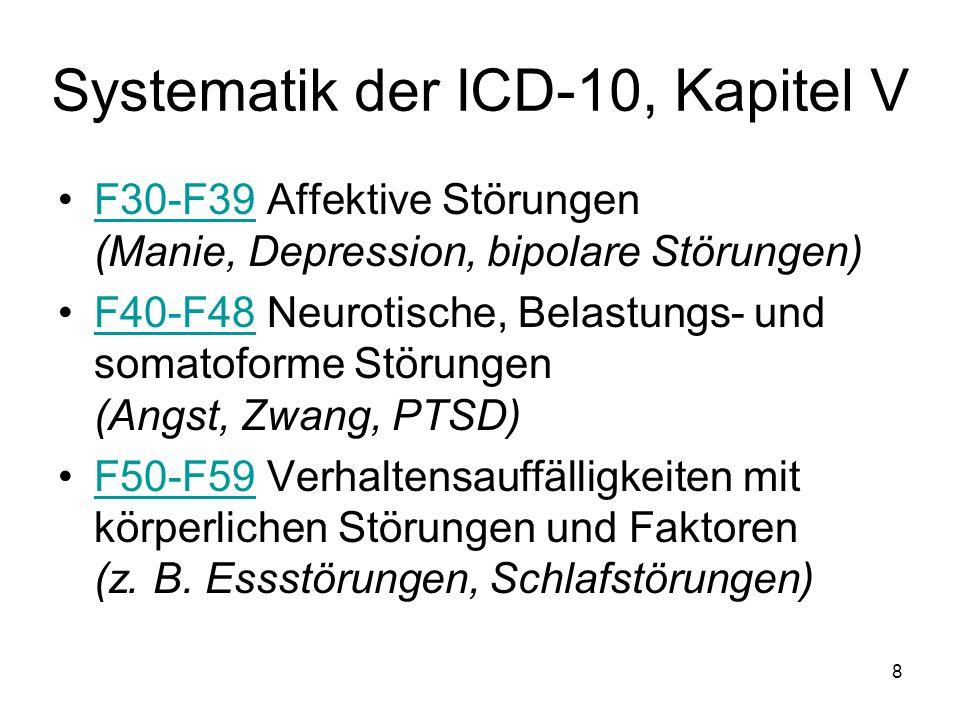 F30-F39 Affektive Störungen (Manie, Depression, bipolare Störungen)F30-F39 F40-F48 Neurotische, Belastungs- und somatoforme Störungen (Angst, Zwang, P