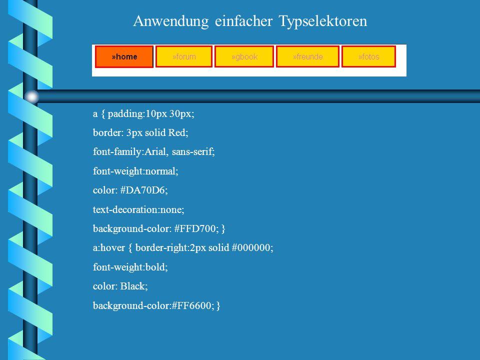 a.zurueck { color : #009 ; text-decoration : none ; border: outset; } h1 { color : #900 ; margin-left : 50px; } a.zurueck { color : #009 ; text-decora