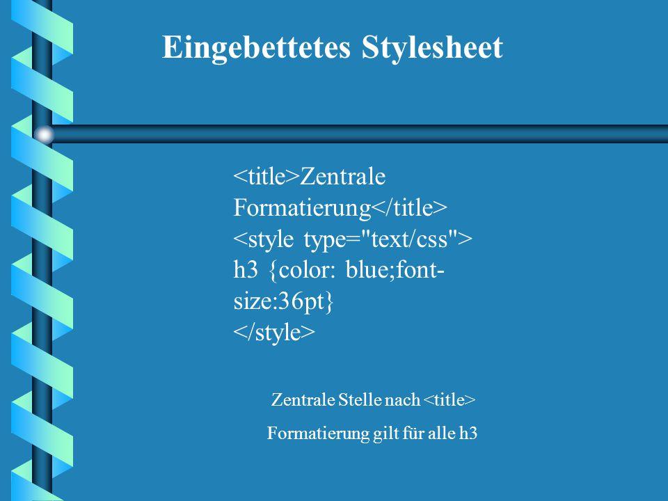 Inline-Stylesheet: Überschrift Einmalige Veränderung! Die Formatierung erfolgt in einem Tag und wird mit