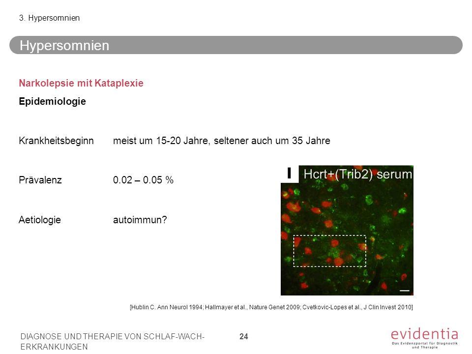 [Hublin C. Ann Neurol 1994; Hallmayer et al., Nature Genet 2009; Cvetkovic-Lopes et al., J Clin Invest 2010] Hypersomnien Narkolepsie mit Kataplexie E