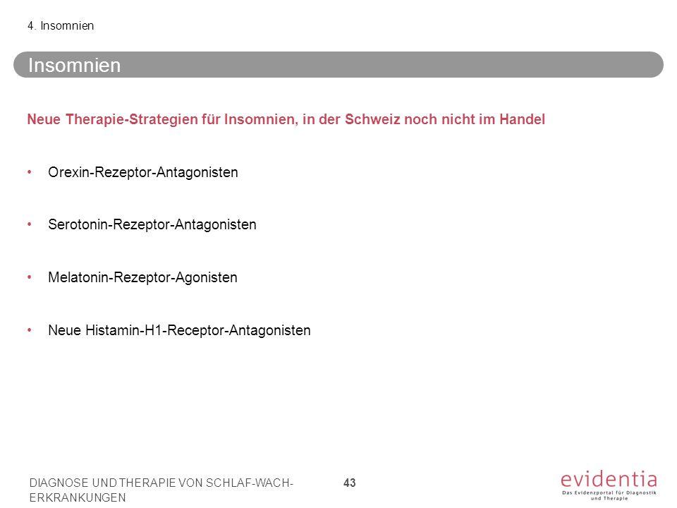 Insomnien Neue Therapie-Strategien für Insomnien, in der Schweiz noch nicht im Handel Orexin-Rezeptor-Antagonisten Serotonin-Rezeptor-Antagonisten Mel