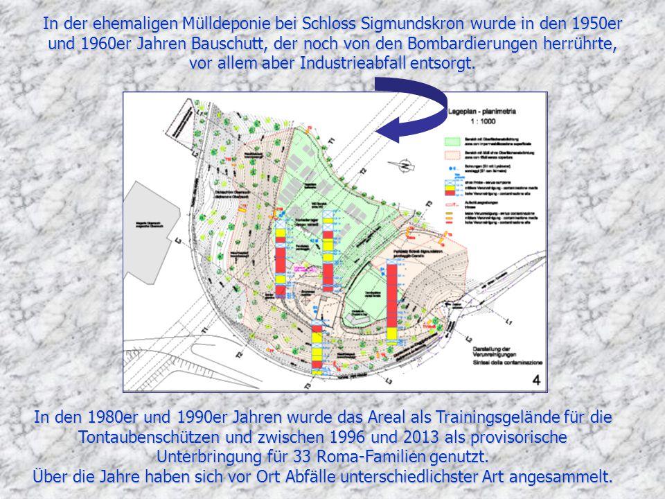 In der ehemaligen Mülldeponie bei Schloss Sigmundskron wurde in den 1950er und 1960er Jahren Bauschutt, der noch von den Bombardierungen herrührte, vor allem aber Industrieabfall entsorgt.