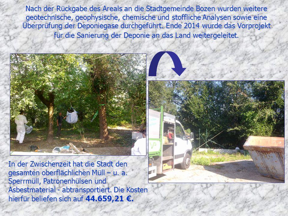 Nach der Rückgabe des Areals an die Stadtgemeinde Bozen wurden weitere geotechnische, geophysische, chemische und stoffliche Analysen sowie eine Überprüfung der Deponiegase durchgeführt.