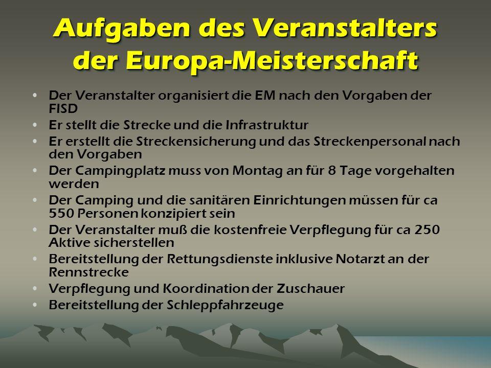 Aufgaben des Veranstalters der Europa-Meisterschaft Der Veranstalter organisiert die EM nach den Vorgaben der FISD Er stellt die Strecke und die Infra