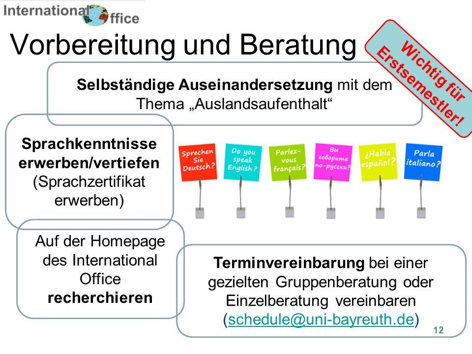 """Vorbereitung und Beratung Selbständige Auseinandersetzung mit dem Thema """"Auslandsaufenthalt"""" Sprachkenntnisse erwerben/vertiefen (Sprachzertifikat erw"""