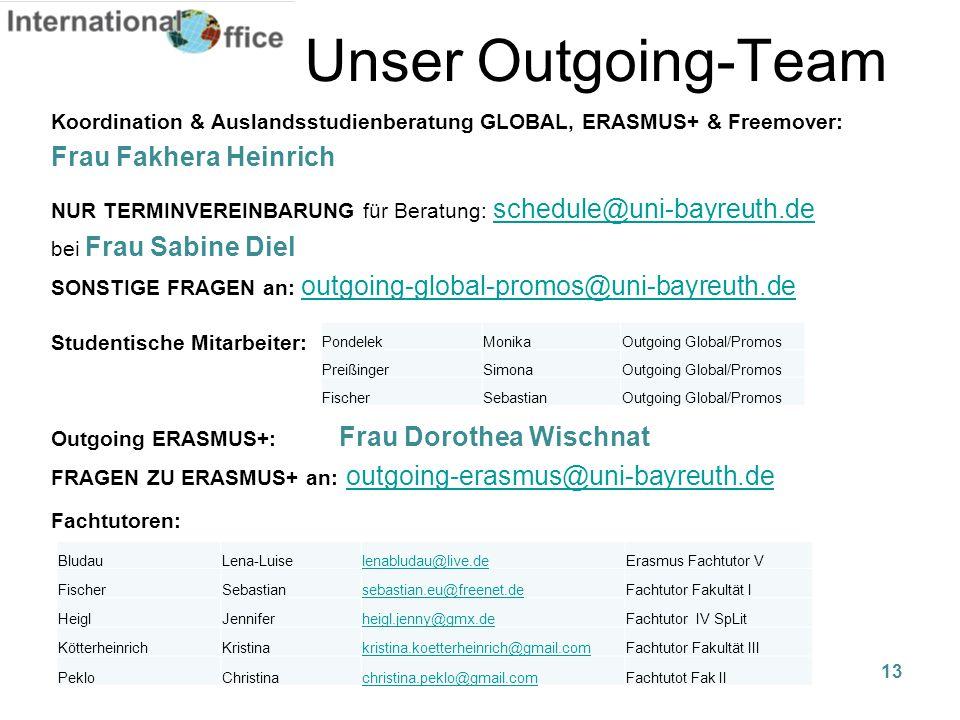 Unser Outgoing-Team Koordination & Auslandsstudienberatung GLOBAL, ERASMUS+ & Freemover: Frau Fakhera Heinrich NUR TERMINVEREINBARUNG für Beratung: sc