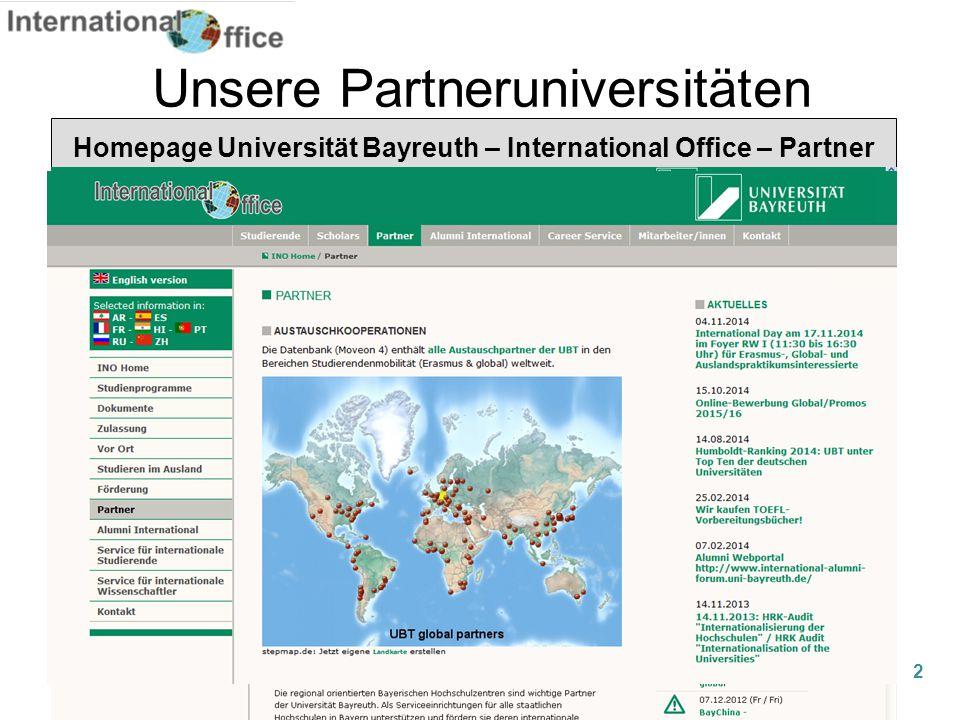 Unsere Partneruniversitäten Homepage Universität Bayreuth – International Office – Partner 2