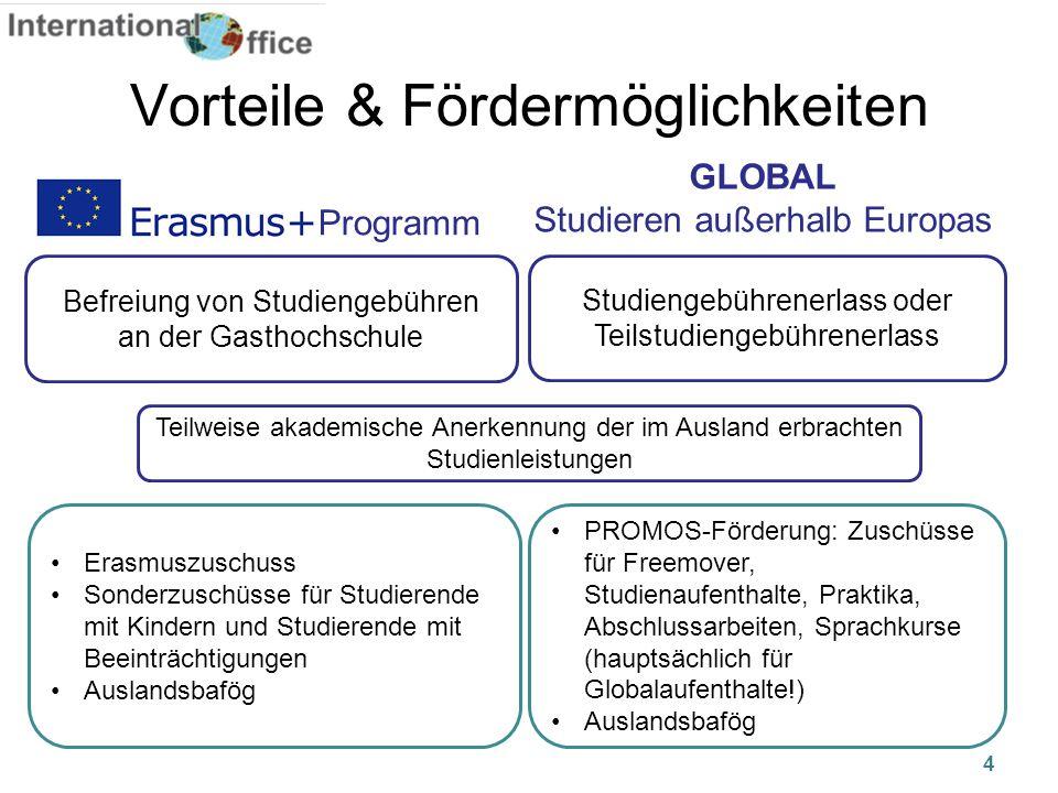 4 Vorteile & Fördermöglichkeiten Befreiung von Studiengebühren an der Gasthochschule Studiengebührenerlass oder Teilstudiengebührenerlass GLOBAL Studi