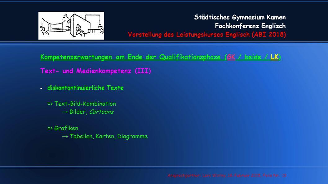 Städtisches Gymnasium Kamen Fachkonferenz Englisch Vorstellung des Leistungskurses Englisch (ABI 2018) Lars Wollny, 07.02.13, Folie Nr. 19 Ansprechpar