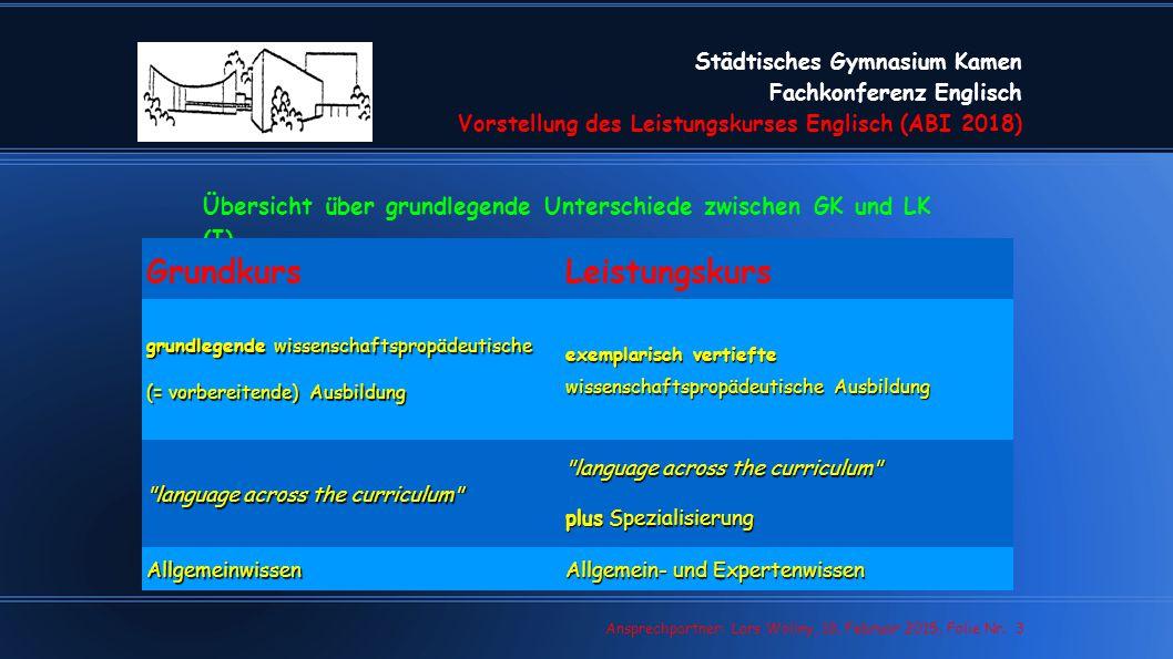 Städtisches Gymnasium Kamen Fachkonferenz Englisch Vorstellung des Leistungskurses Englisch (ABI 2018) Lars Wollny, 07.02.13, Folie Nr. 3 Ansprechpart