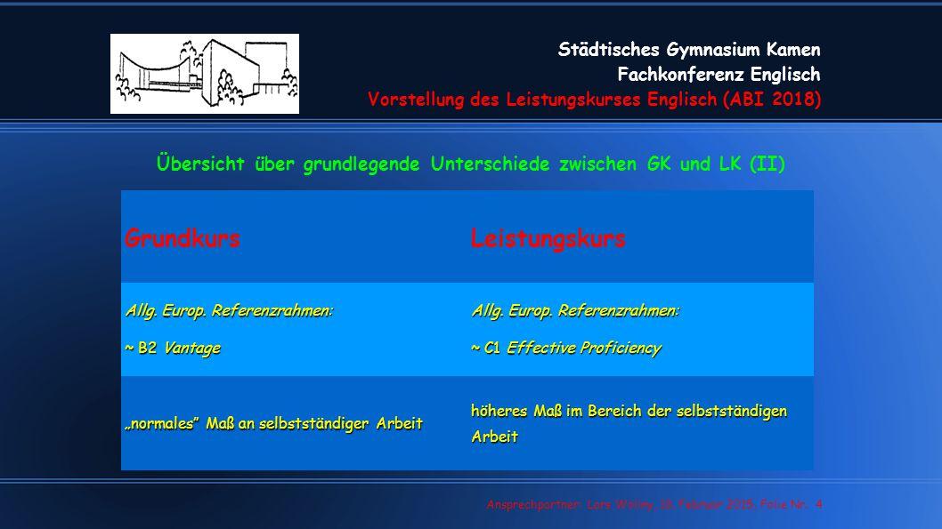 Städtisches Gymnasium Kamen Fachkonferenz Englisch Vorstellung des Leistungskurses Englisch (ABI 2018) Lars Wollny, 07.02.13, Folie Nr. 4 Ansprechpart