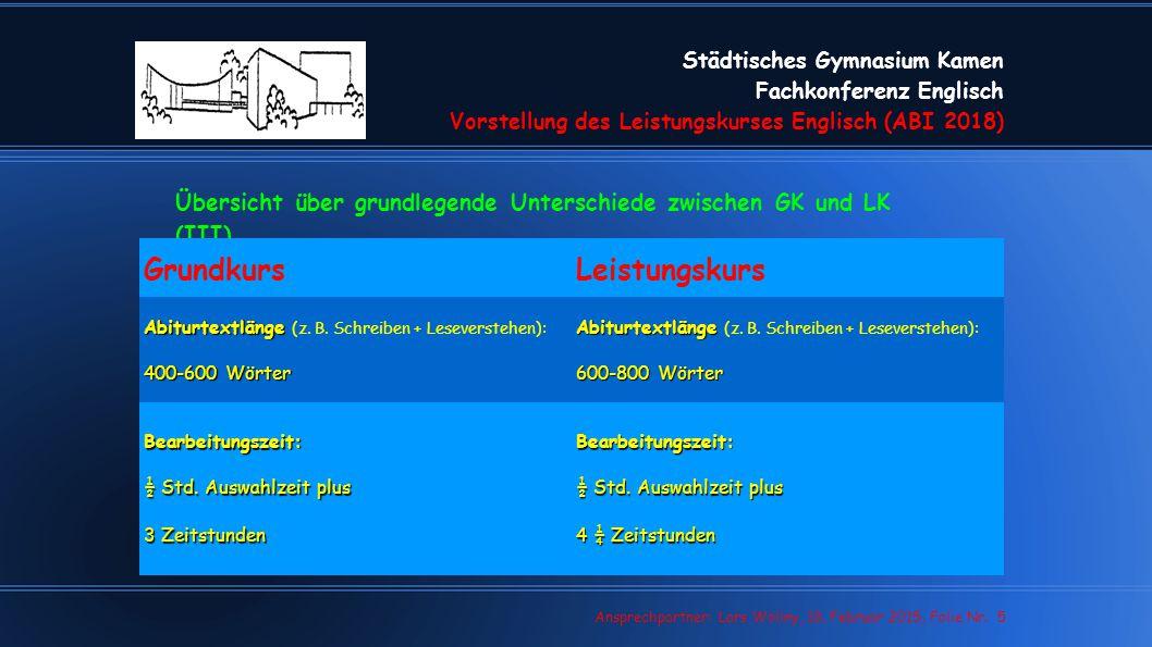Städtisches Gymnasium Kamen Fachkonferenz Englisch Vorstellung des Leistungskurses Englisch (ABI 2018) Lars Wollny, 07.02.13, Folie Nr. 5 Ansprechpart