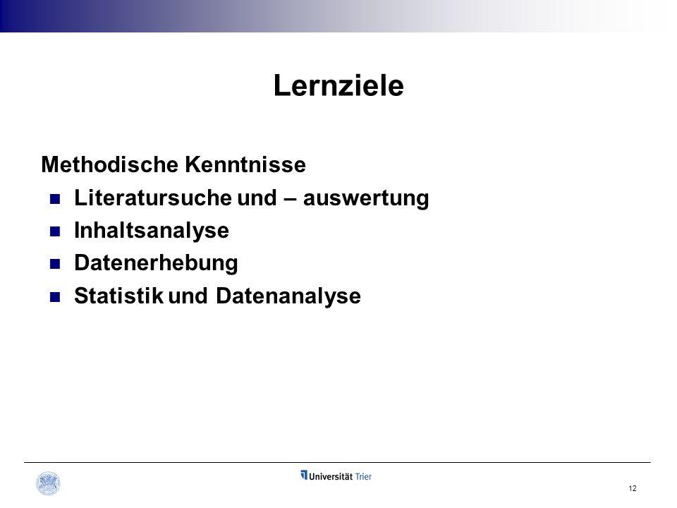 Lernziele Methodische Kenntnisse Literatursuche und – auswertung Inhaltsanalyse Datenerhebung Statistik und Datenanalyse 12