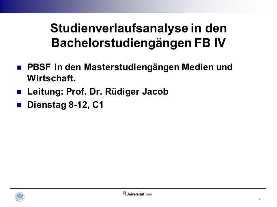 Studienverlaufsanalyse in den Bachelorstudiengängen FB IV PBSF in den Masterstudiengängen Medien und Wirtschaft. Leitung: Prof. Dr. Rüdiger Jacob Dien