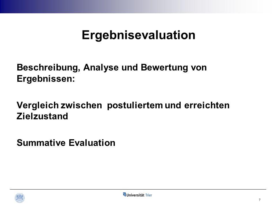 Ergebnisevaluation Beschreibung, Analyse und Bewertung von Ergebnissen: Vergleich zwischen postuliertem und erreichten Zielzustand Summative Evaluatio