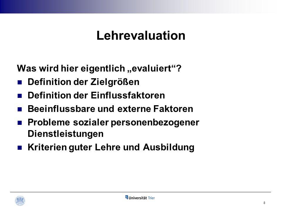 """Lehrevaluation Was wird hier eigentlich """"evaluiert""""? Definition der Zielgrößen Definition der Einflussfaktoren Beeinflussbare und externe Faktoren Pro"""