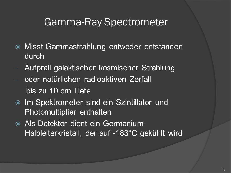 Gamma-Ray Spectrometer  Misst Gammastrahlung entweder entstanden durch  Aufprall galaktischer kosmischer Strahlung  oder natürlichen radioaktiven Z