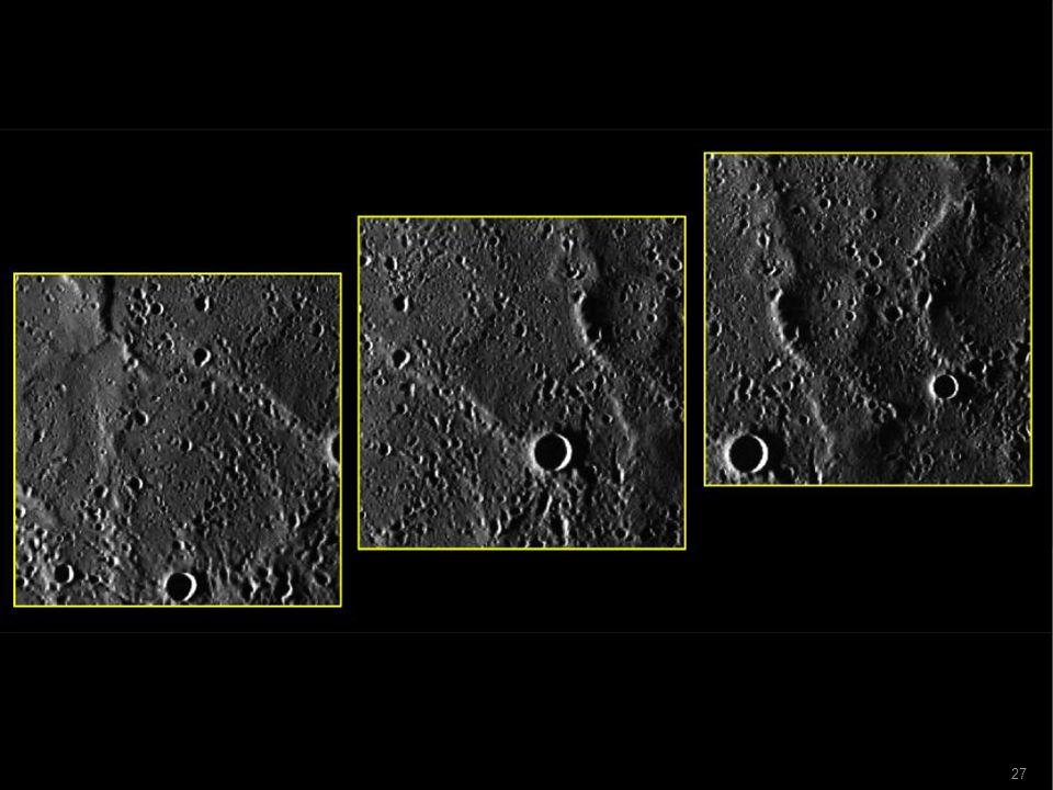 2.Magnetfeld  Dichte des Gravitationsfeld: 5,3 g/cm³  Im Gegensatz zur Erde (4,4) und Mond (3,3)  Vorwiegend aus Eisen bestehender dichter Kern, um Magnetfeld zu erzeugen  Globales Magnetfeld  Dipolmagnetfeld (wie Stabmagnet)  Feldstärke nur etwa 1% des Erdmagnetfelds  aber Merkurs Magnetfeld überhaupt bemerkenswert  Kein anderer Himmelskörper mit fester Oberfläche im SoSy außer Ganymed hat diese Eigenschaften 28