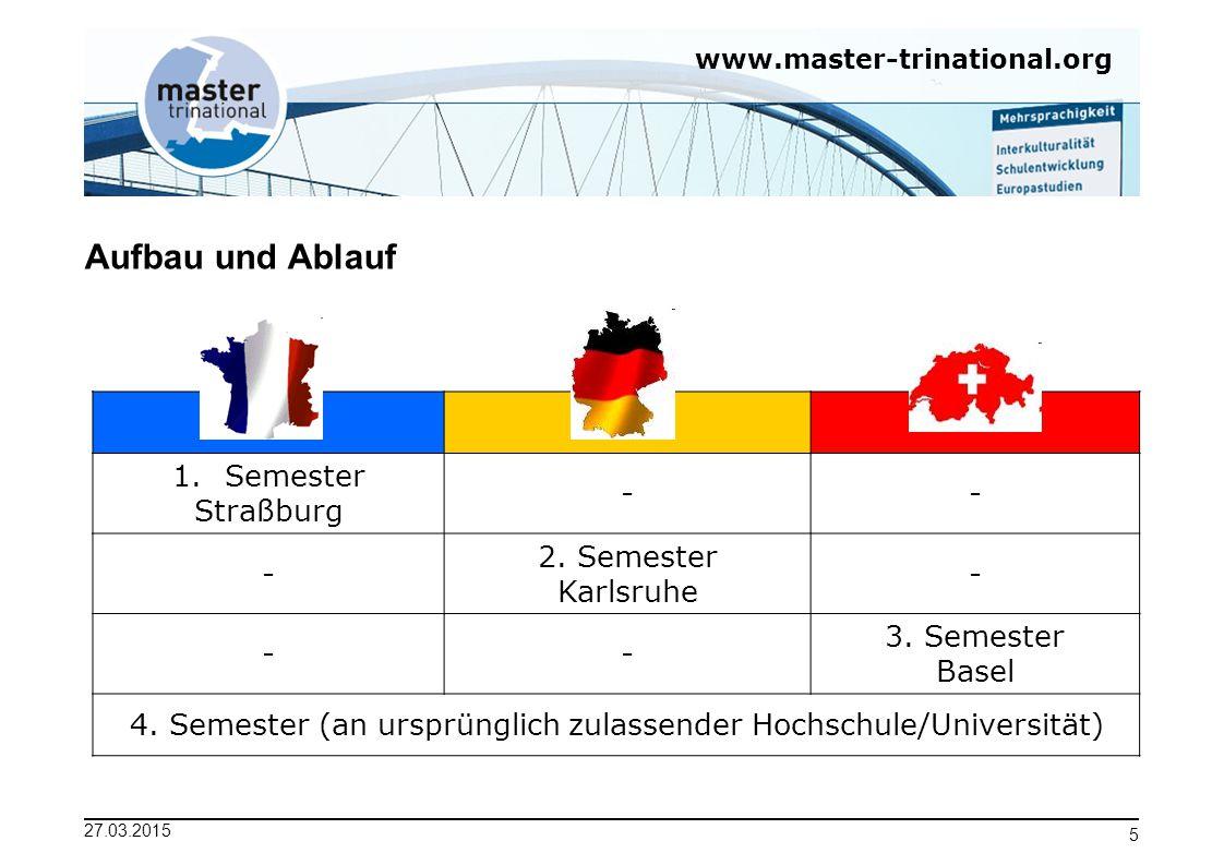 www.master-trinational.org 27.03.2015 5 Aufbau und Ablauf 1.Semester Straßburg -- - 2. Semester Karlsruhe - -- 3. Semester Basel 4. Semester (an urspr